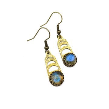 Moon Phase Earrings with labradorite