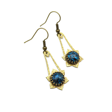 Hammered Brass and Chrysocolla Earrings
