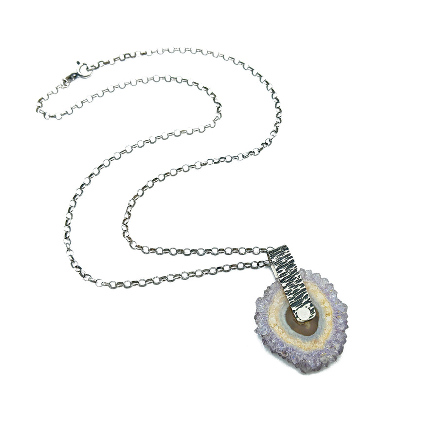 sterling spinning amethyst stalactite necklace