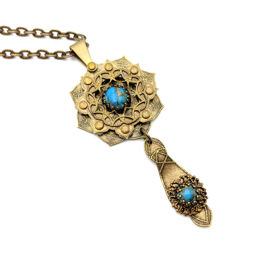 etched flower mandala necklace with copper turquoise