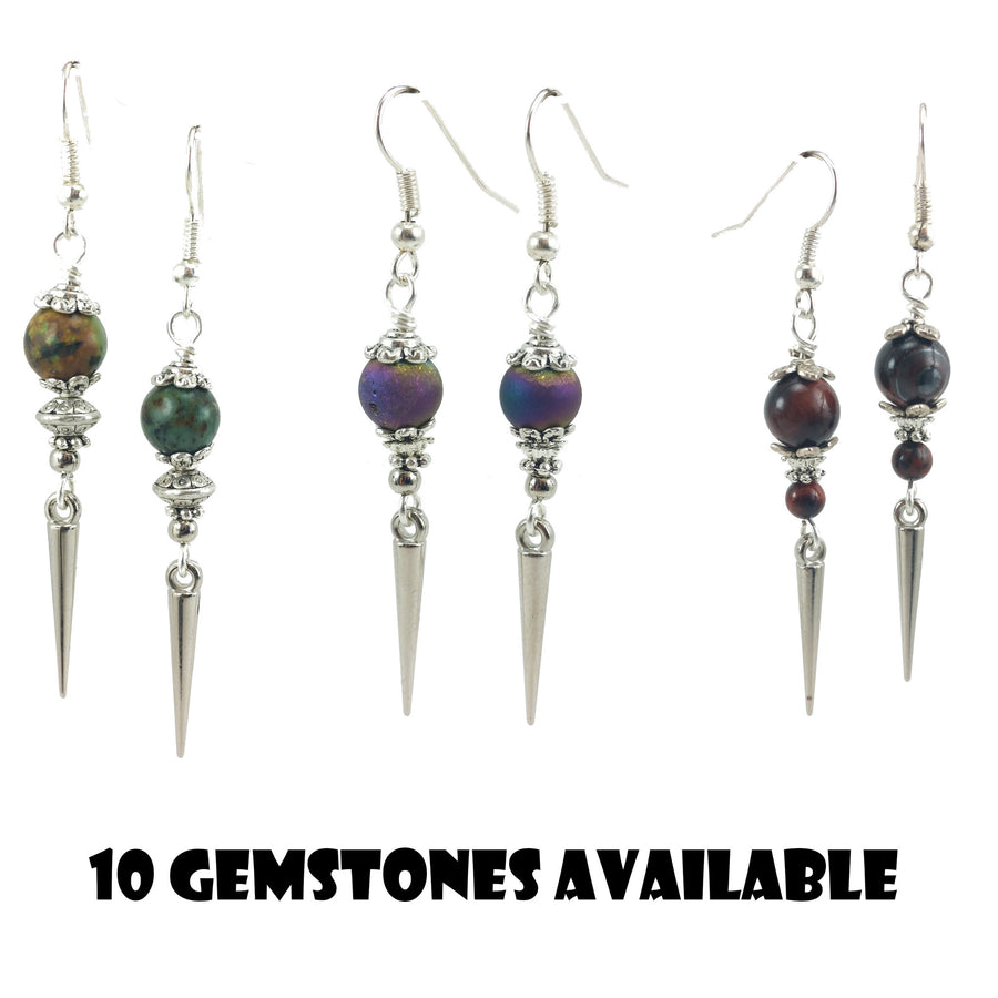 Gemstone Silver Spike Earrings