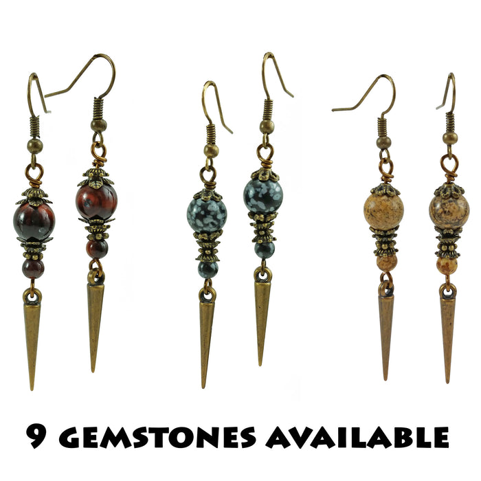 Gemstone Brass Spike Earrings