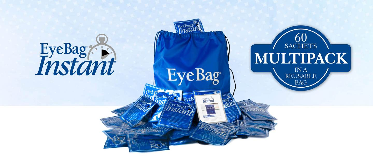 Never run out of EyeBag Instants! Now available to buy as a multipack of 60 sachets - all contained in a handy, reusable nylon drawstring bag.