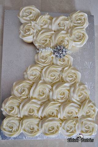 bridal shower dress cupcake cake with broach
