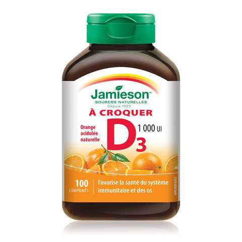 Vitamine D à croquer 1 000 UI — Saveur naturelle d'orange