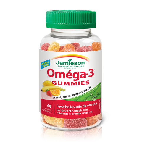 Gummies oméga-3 – Orange, citron, fraise-banane