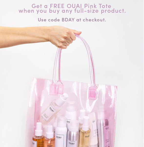 OUAI Haircare Birthday Jen Atkin Clear Pink Tote
