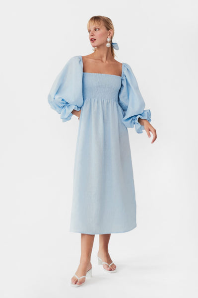 """Atlanta""-Linen-Dress-in-Azure-Blue ouai blog holiday gift ideas 2020"