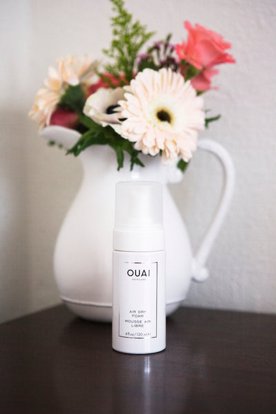 OUAI Air Dry Foam wash and wear hairstyle air dried hair