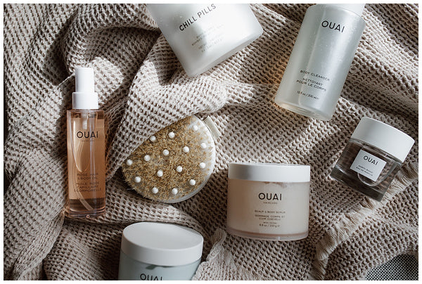 at home spa day bath bomb self care routine ouai body cleanser ouai chill pills candace molatore dry brush