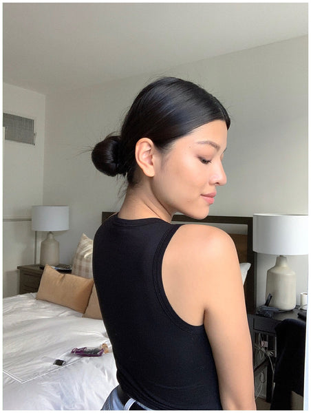 easy lazy girl low bun claw clip how to ouai finishing creme volumizing hair spray charlene truong 1