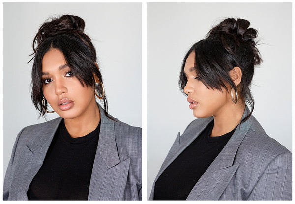 loose voluminous topknot tutorial OUAI haircare