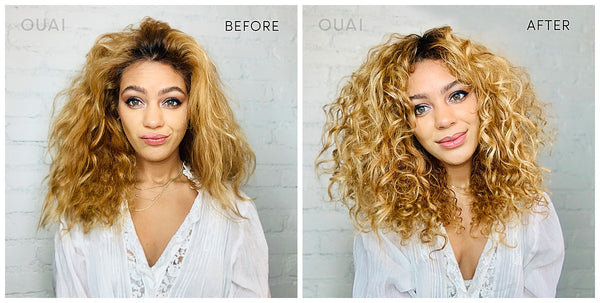 ouai curl creme styling cream for all curl types before and after