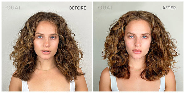 ouai curl creme styling cream for curly hair frizzy hair wash before and after curls