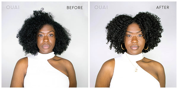 ouai curl creme styling cream for curly hair frizzy hair wash before and after hair texture
