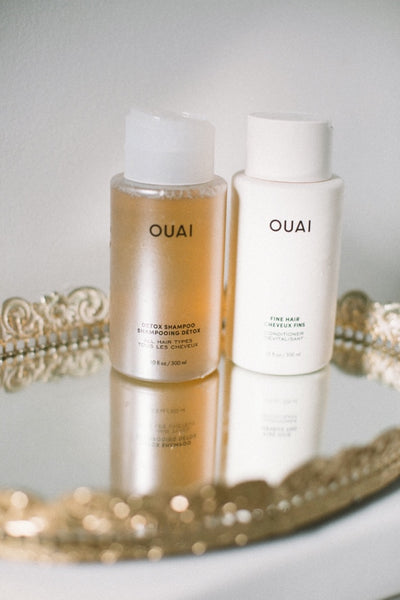 ouai detox shampoo fine hair conditioner becky tsivin shower routine ouai blog