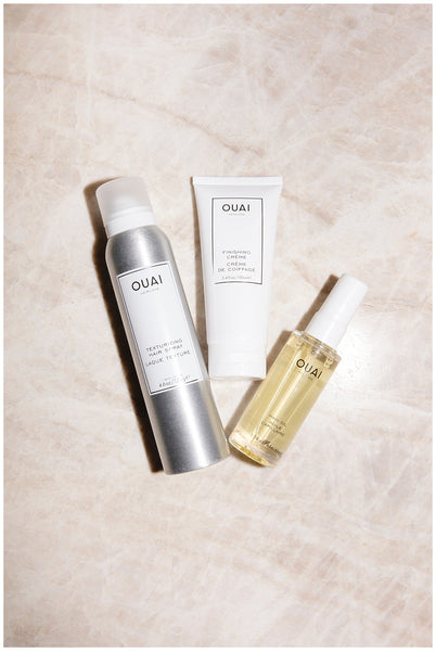 anti humidity hair products ouai no frizz fam bundle ouai texturizing hair spray ouai hair oil ouai finishing creme