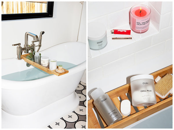 ouai relaxing new years eve at home spa bath at home ouai chill pills ouai body creme