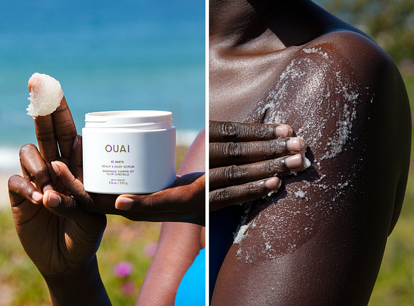 ouai st barts scalp and body scrub full body exfoliator dry itchy scalp tropical scent vegan body oil for all skin types