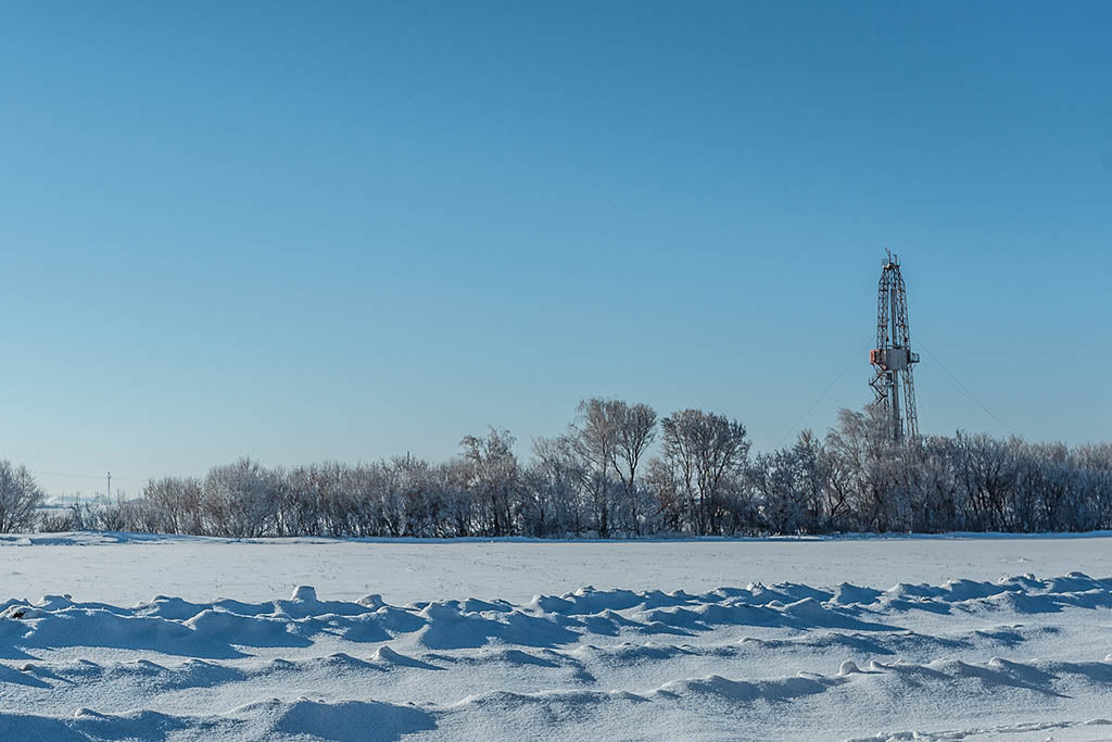 rig site during Winter