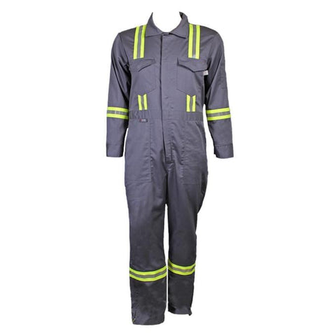 Flame Resistant Gray Reflective Coveralls With Leg Zippers