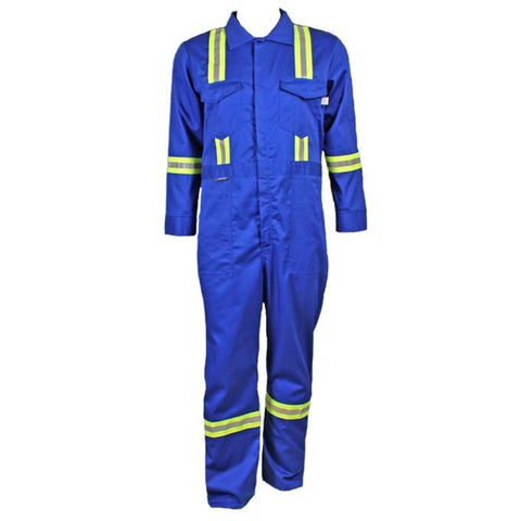 Flame Resistant Royal Blue Reflective Coveralls With Leg Zippers