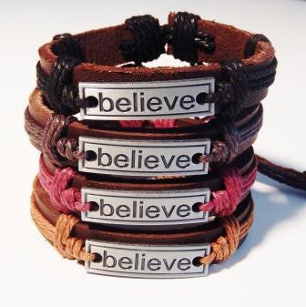 "Cool ""Believe"" Leather Wristband"