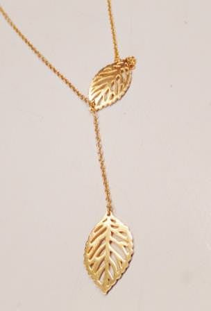 18k Gold or Silver Plated Stainless Steel Double Leaf Charm Necklace
