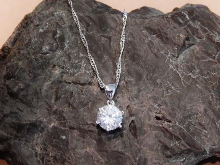 Sterling Silver with Platinum Plating Cubic Zirconia Necklace