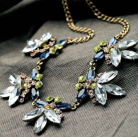 Multicolor Crystal Flower Statement Necklace Women