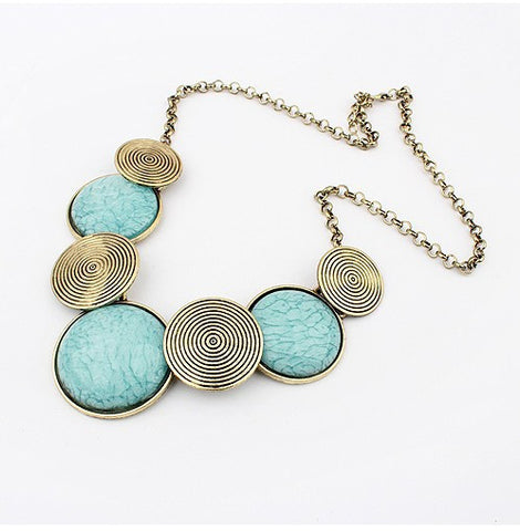 Round Turquoise Colored Gems Statement Choker Necklace for Women