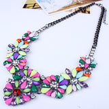 Crystal Gem Multicolor Flower Choker Statement Necklace