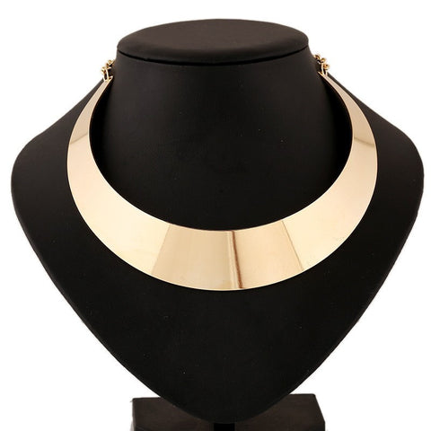 Gold Colored Solid Choker Statement Necklace for Women