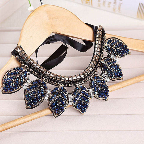 Blue Crystal Leaves Statement Choker Necklace for Women