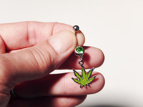 "Rhinestone and Enamel ""Fun Leaves"" Belly Button Ring"