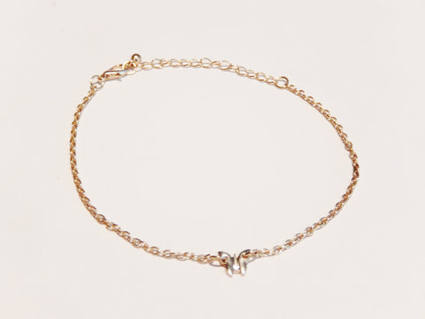 18k Gold Plated Dainty Butterfly Ankle Bracelet