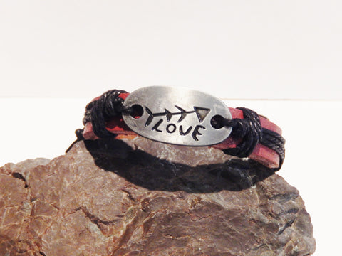 Knotted Leather Bracelets with Love Medallion