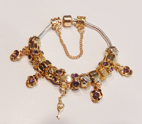 14K Gold Plated Crystal Hearts Charm Bracelet