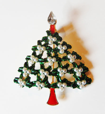 18k Yellow Gold Filled Enamel Pearls Christmas Tree Pin Brooch