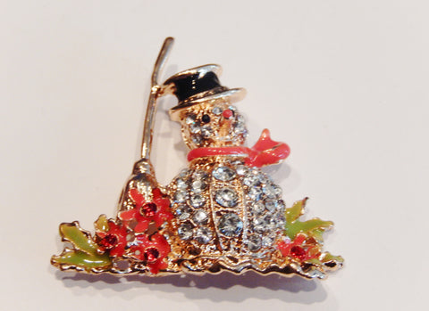 Christmas Holiday Crystal Snowman Pin Brooch