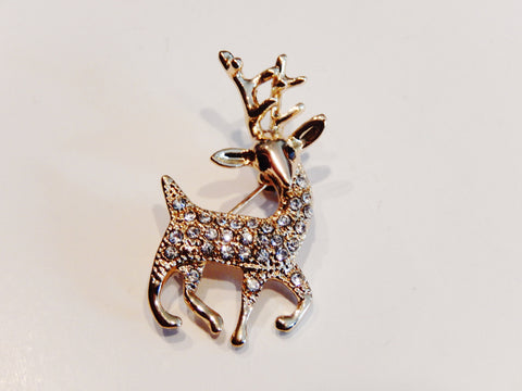 18k Gold Plated Reindeer Austrian Crystals Pin Brooch