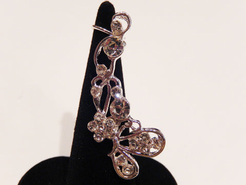 Crystal Butterfly and Flower Ear Cuff