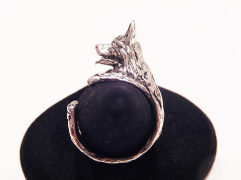 Antique Silver or Gold German Shepherd Ring