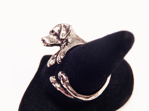 Antique Silver or Black Labrador Retriever Ring