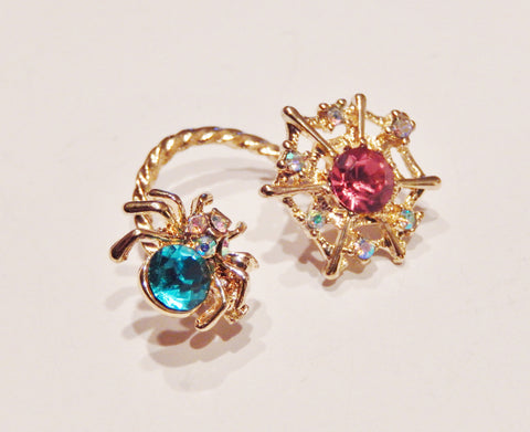 18k Gold Plated Colored Crystals Spider Ear Clip