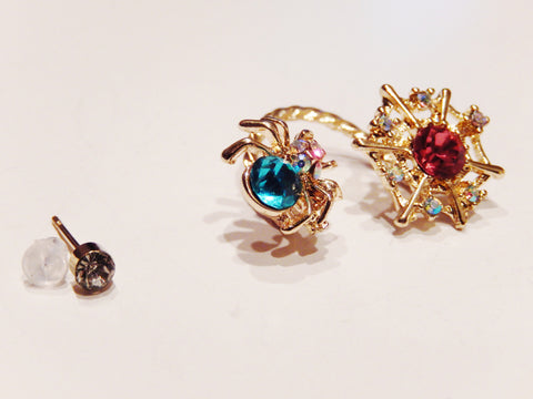 18k Gold Plated Colored Crystals Spider Ear Clip - Jewelry Jills