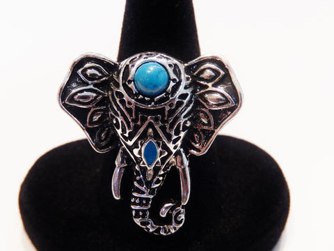 Bohemian Style Silver Plated Elephant Ring