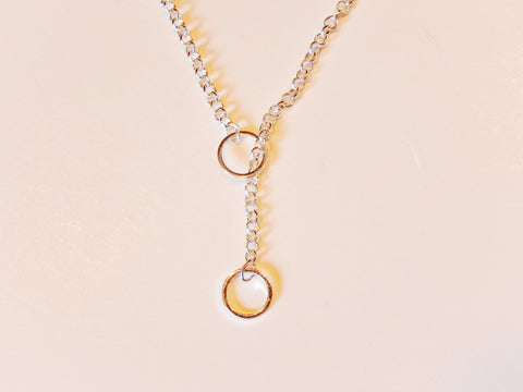 925 Sterling Silver or 18k Gold Plated Circle Lariat Necklace
