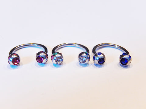 Crystal Ball Surgical Steel Horseshoe Piercing Cartilage Tragus Nipple Ring Hoop