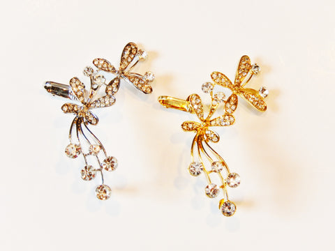 Beautiful Silver Plated or Gold Plated Crystal Butterfly Ear Cuff